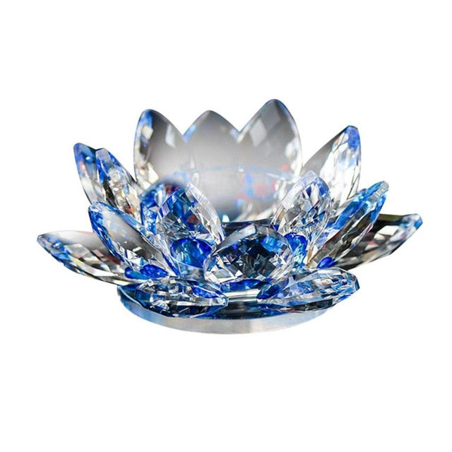 Lotus Crystal Glass Candle Holder