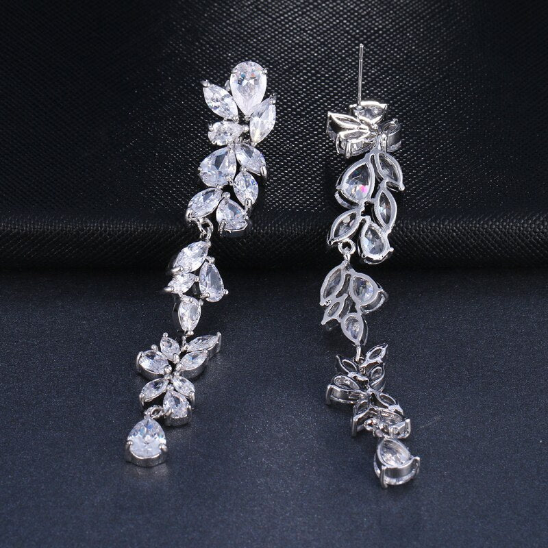LONG CRYSTAL FLOWER DROP EARRINGS