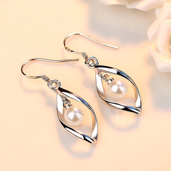 STERLING TWIST PEARL EARRINGS FOR WOMEN