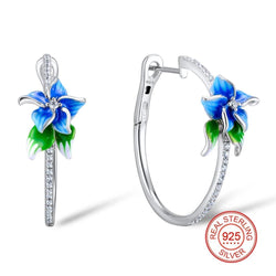 Zircon Embedded Glistening Blue Flower Hoop Earrings