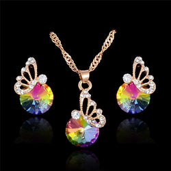 Colorful Austrian Crystals Pendant Necklaces Earrings