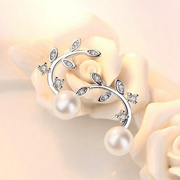 SILVER FLOWER PEARL STUD EARRINGS FOR WOMEN