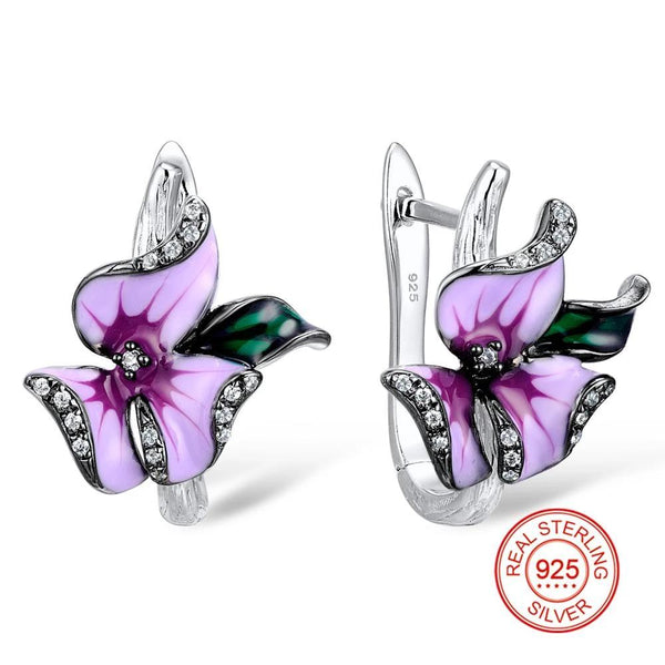 Zircon Embedded Glistening Purple Flowers Earrings