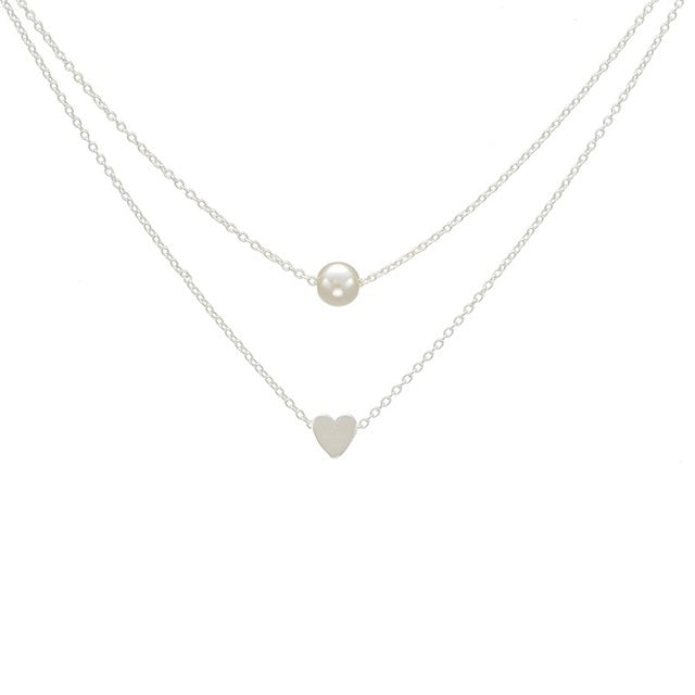 SIMPLE HEART & PEARL NECKLACE FOR WOMEN