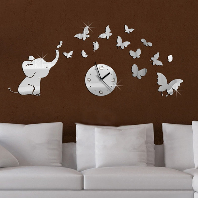 Baby Elephant and Butterflies Acrylic Wall Clock