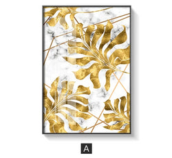 Nordic Golden Leaf Canvas