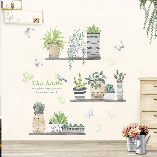 Garden Plant Flower Butterfly Wall Stickers