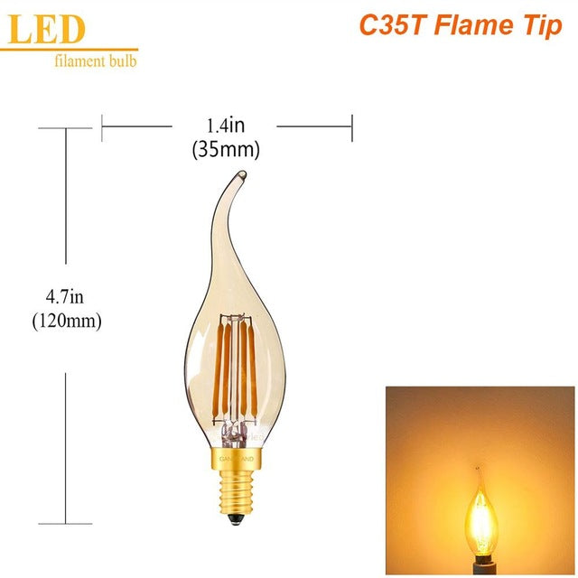 Gold Tubular LED Candle Lamp Bulb