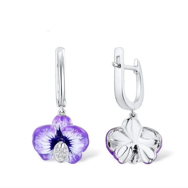 Zircon Embedded Glistening Purple Flower Dangle Earrings