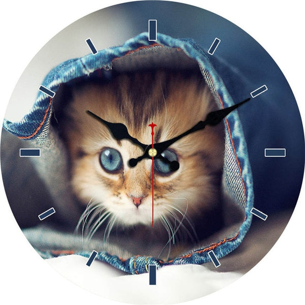 Cat Wooden Cardboard Wall Clock