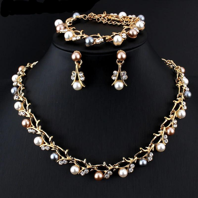 Crystal Pearl Jewelry Set For Women
