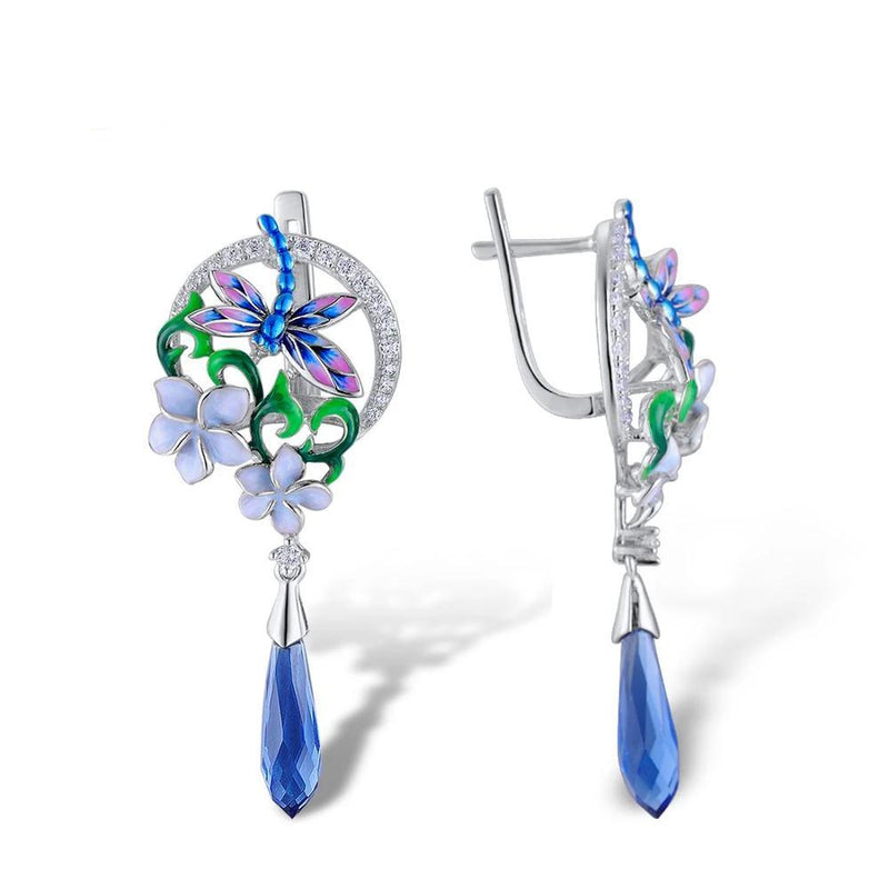 Zircon Embedded Glistening Delicate Dragonfly Flowers Earrings