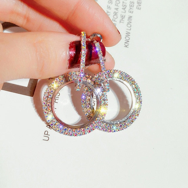 Luxury Hoop Crystal Earrings For Women