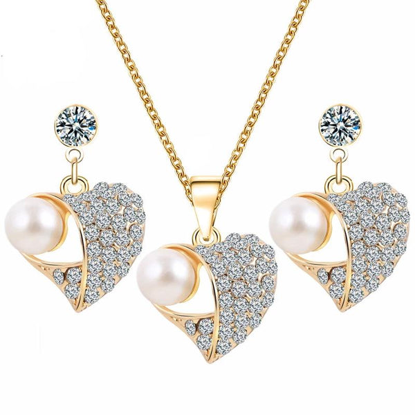 Heart Shaped Crystal Jewelry Set