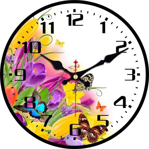 Garden Butterfly Wall Clock