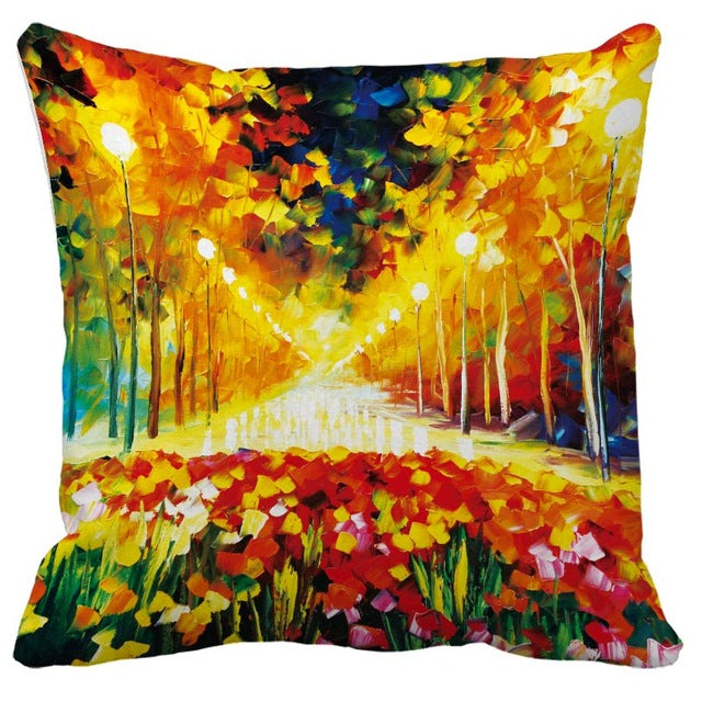 OIL PAINTING STYLE CHAIR CUSHION