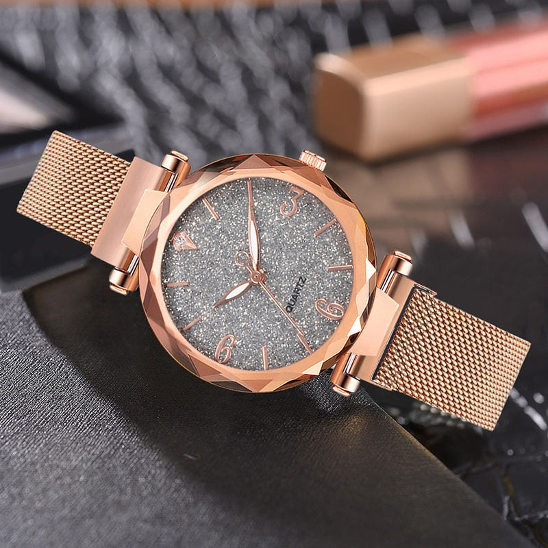 Water Resistance Rose Gold Women Wrist Watch