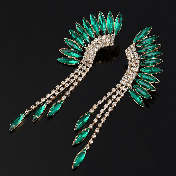 PEACOCK TASSEL RHINESTONE EARRINGS