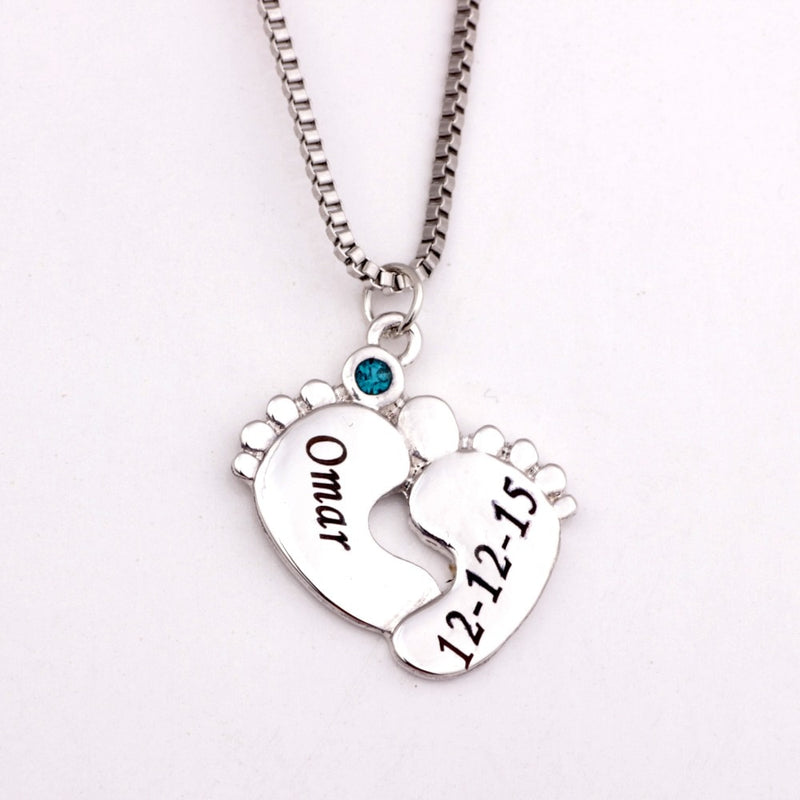 Personalized Engraved Baby Feet Necklaces