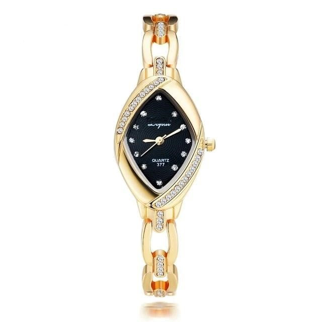 Oval Crystal Golden Wristwatch
