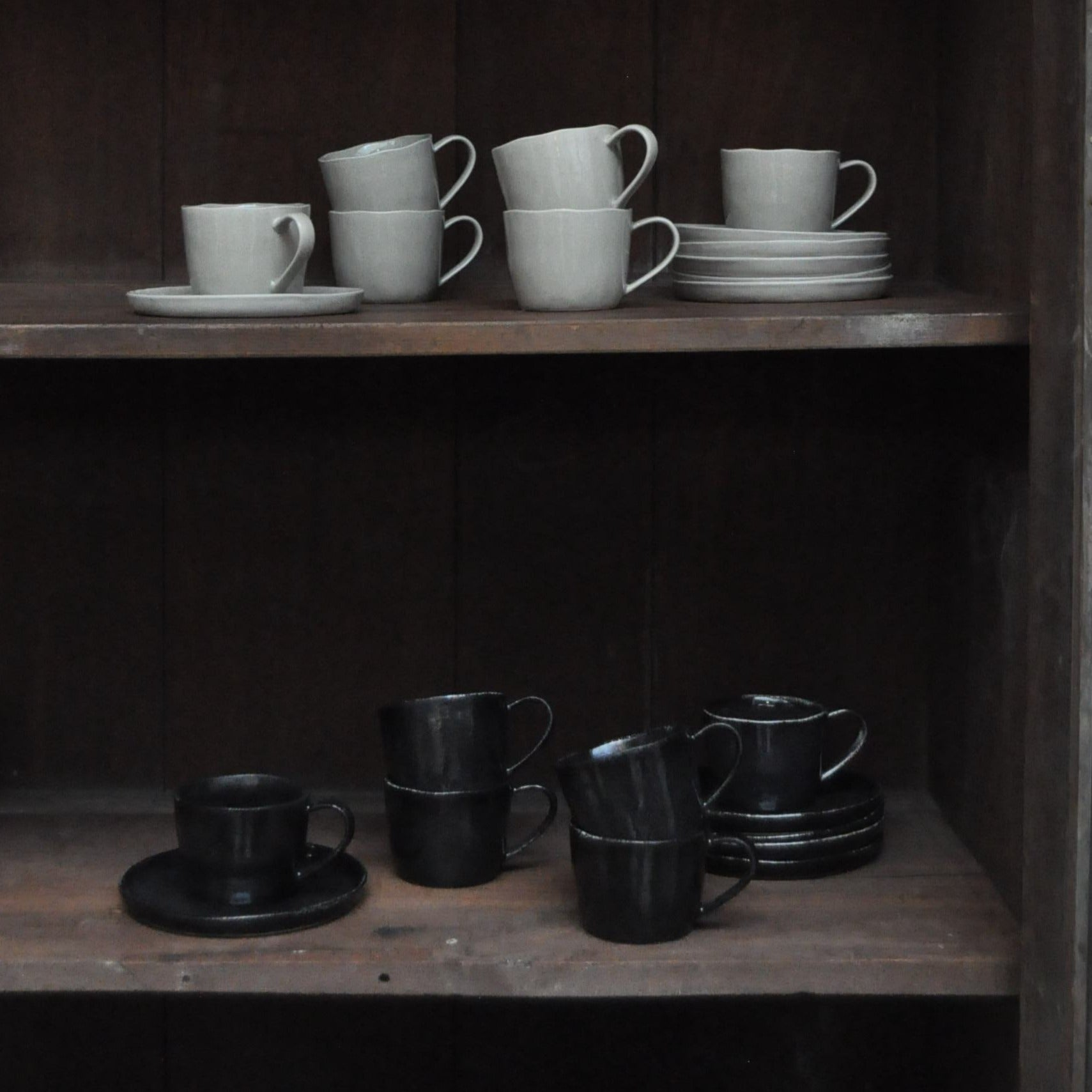Ela tea set of 6 - porcelain - black