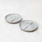 Lily plate set of 2 - stoneware - grey