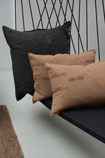 Jo patch pillow - linen - dark grey