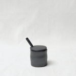 Flow jar - glazed porcelain - black