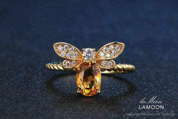Little Bee Oval Citrine Adjustable Ring