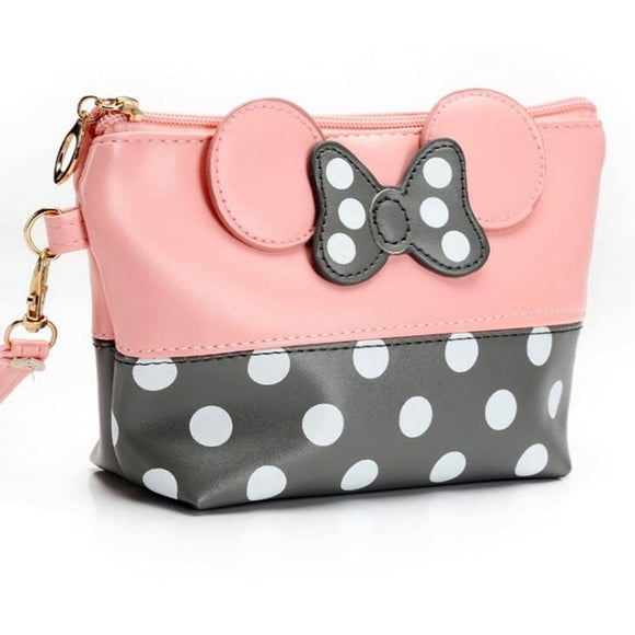 Polka-Dot Bow Travel Cosmetic Bag - The Dahlia Collective