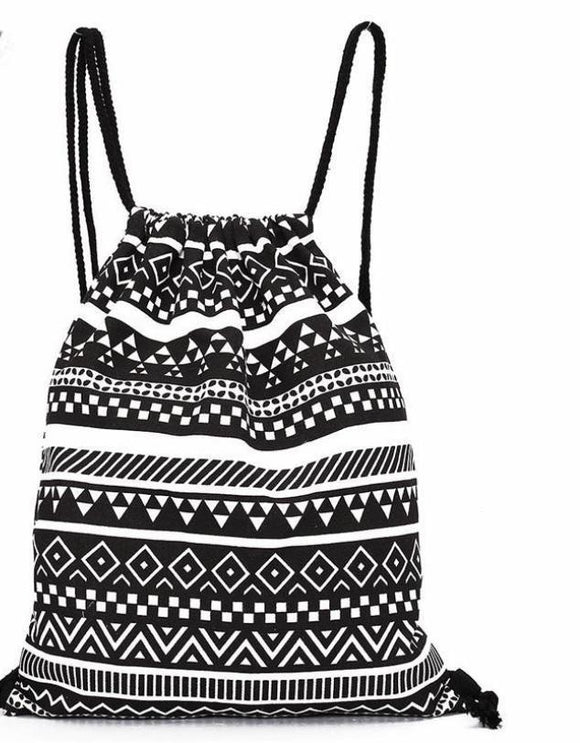 Women's Retro Geometric Drawstring Backpack - The Dahlia Collective