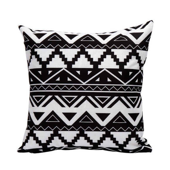 Fancy Geometric Black and White Throw Pillow Case - The Dahlia Collective