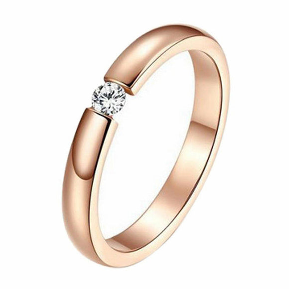 Simplistic Rose Gold Single Diamante Ring - The Dahlia Collective