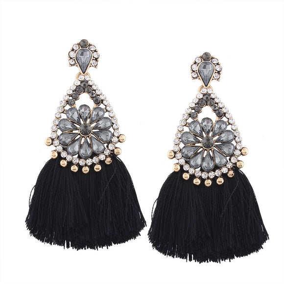 Women's Fashion Bling Bridesmaid Tassel Earrings - The Dahlia Collective