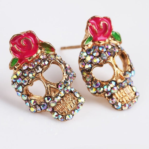 Diamante Skull and Rose Ear Studs - The Dahlia Collective