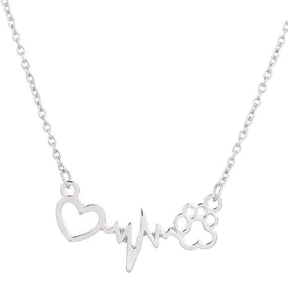 Silver Dog Paw & Heart Necklace - The Dahlia Collective
