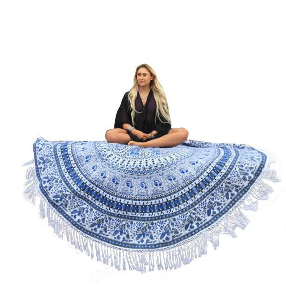 Round BohoTassel Tapestry Beach Throw - The Dahlia Collective