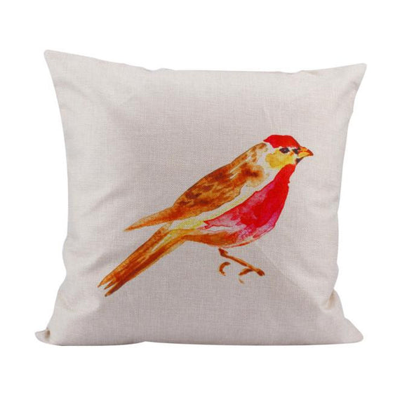 Birds Linen Square Throw Pillow Case - The Dahlia Collective