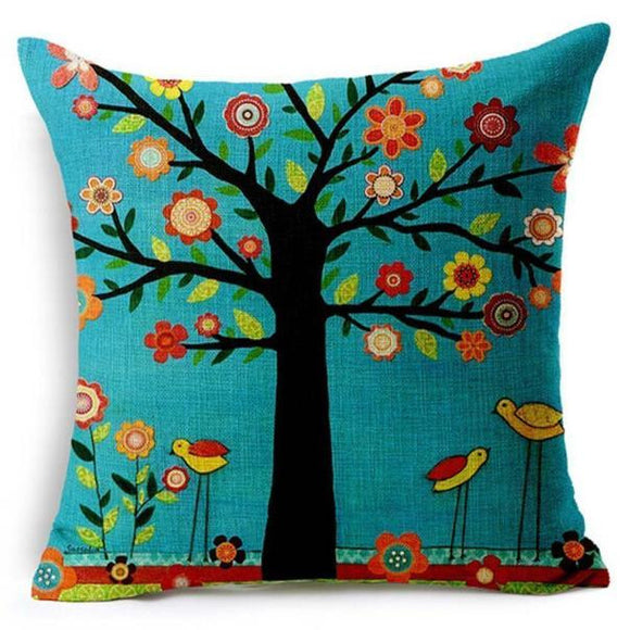 Colourful Tree of Life Throw Pillow - The Dahlia Collective