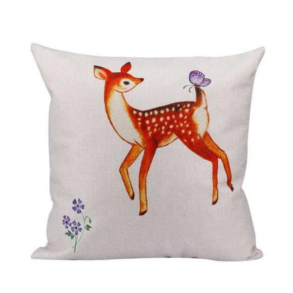 Deer Linen Square Throw Pillow Case - The Dahlia Collective