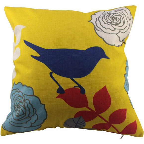 Colourful Birds and Flowers Throw Pillow - The Dahlia Collective