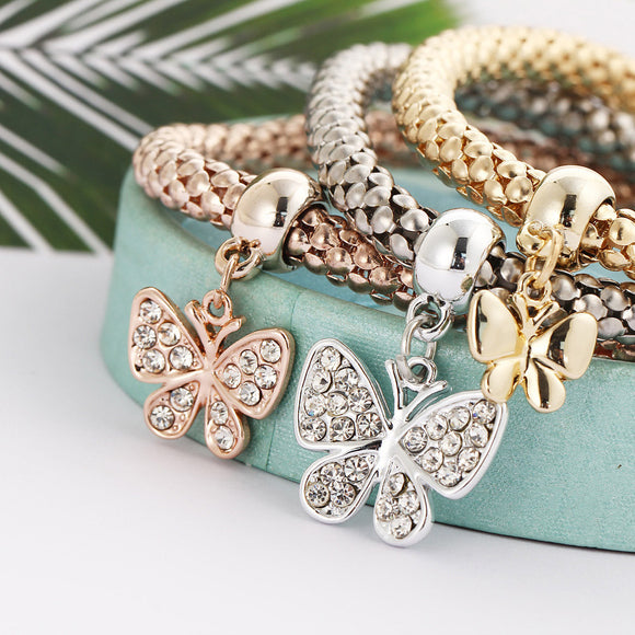 3-Piece Women's Charm Bracelet (Rose Gold, Yellow Gold + Silver) - The Dahlia Collective