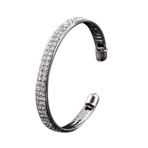 Women's Rhinestone Open Bangle Cuff Bracelet - The Dahlia Collective