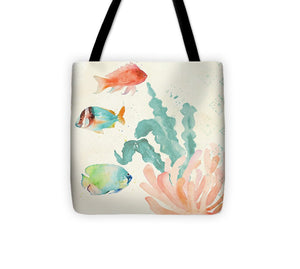 Tropical Teal Coral Medley I Tote Bag - The Dahlia Collective
