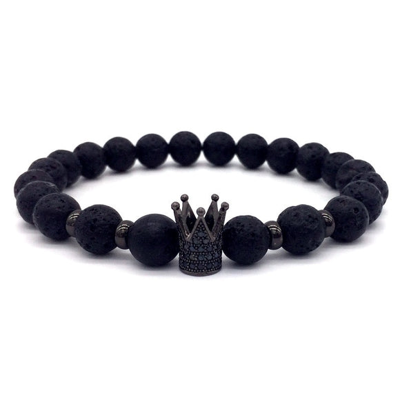 Lava Stone Pave Imperial Crown Charm Bracelet For Men Or Women - The Dahlia Collective
