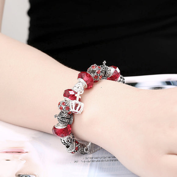 Royal Ruby Crown Jewel Pandora Inspired Bracelet Made with Swarovski Elements - The Dahlia Collective
