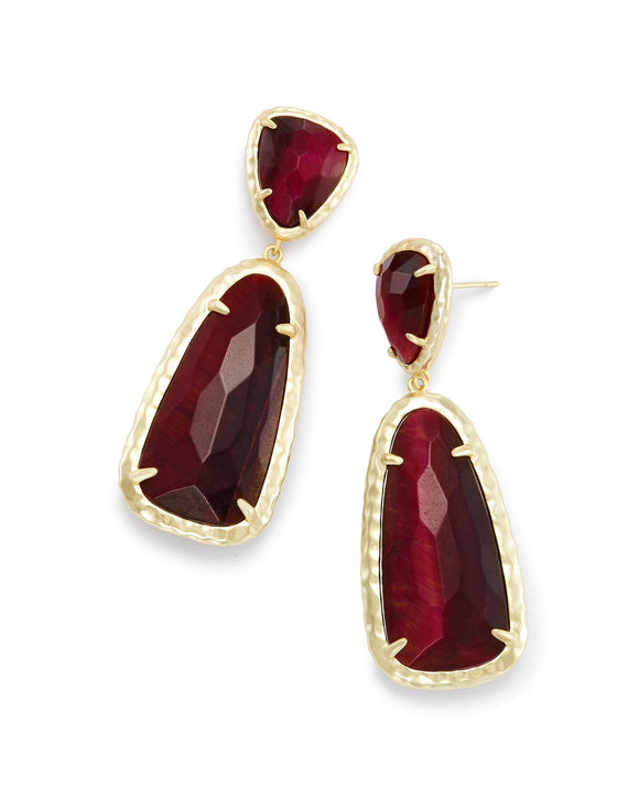 Swarovski Crystal 18K Gold Plated Ruby Stone Drop Earrings - The Dahlia Collective