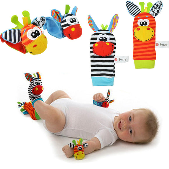 4-Piece Baby Rattle Socks - Developmental Toy - The Dahlia Collective