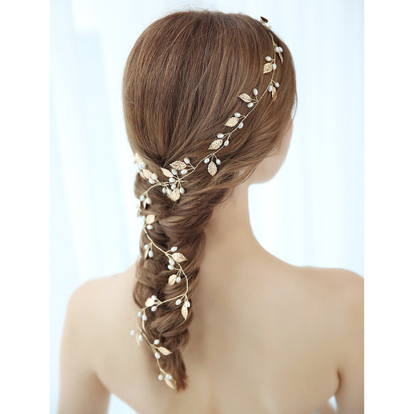 Gold Leaf Bridal Hair Vine - The Dahlia Collective