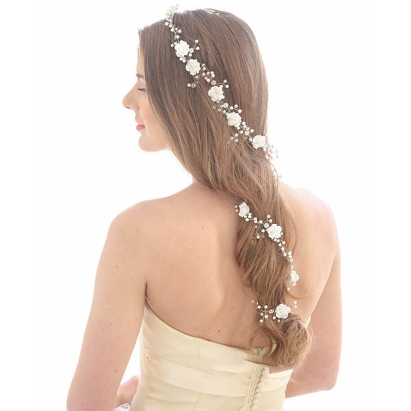Flower Pearl Wedding Bridal Hair Vine - The Dahlia Collective